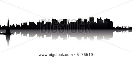 Illustration of the Skyline of New York with Liberty poster
