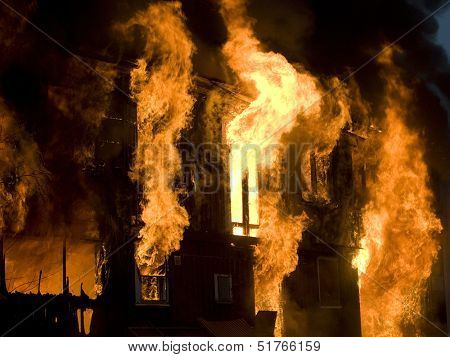 Apartment building on Fire at Night time