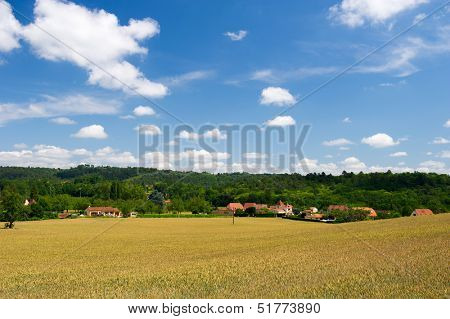 landscape in French Dordogne with Perigord houses