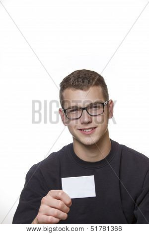 Young Worker Presenting His Business Card
