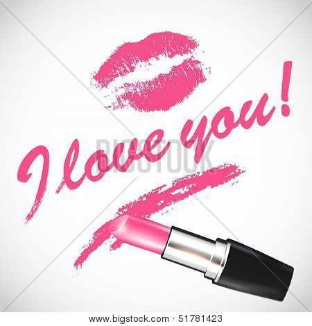Vector pink lipstick with space for your text