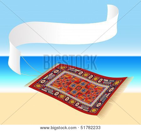 Illustration of a magic carpet (flying carpet) with a banner that can be labeled. Ocean shore in the background. Isolated vector. poster