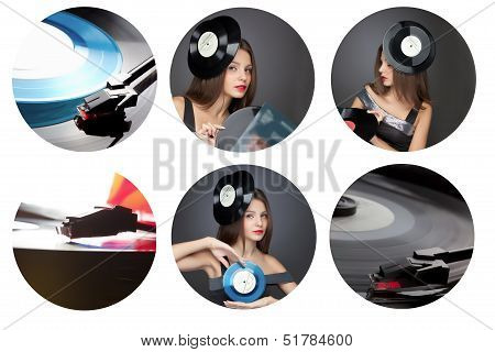 collage girl with vinil disc on black background