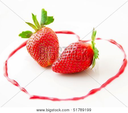 Fresh Strawberries  As Romantic Dessert  On A Plate In Heart Sha