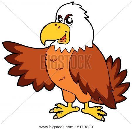 Cartoon eagle on white background - vector illustration. poster