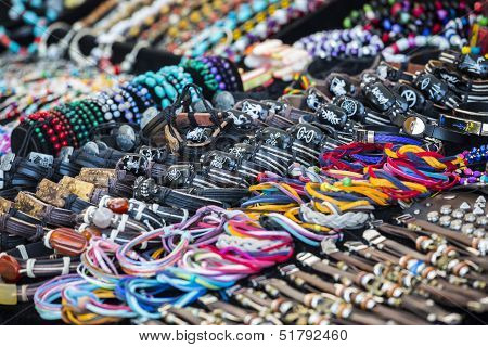 Colorful Leather Bracelets, Beads, Accessories And Souvenirs