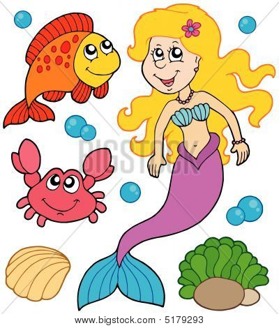 Mermaid collection on white background - vector illustration. poster