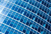 Blue abstract crop of modern office skyscraper poster