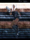 300 dpi female sci fi warrior with a gun poster