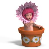 rendering of a young baby in a flower-pot. With Clipping Path and shadow over white poster