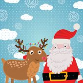 Merry Christmas greeting card with deer and Santa Claus. Holiday vector illustration poster