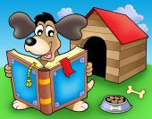 Dog with book in front of kennel - color illustration. poster