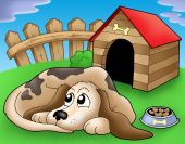 Sad dog in front of kennel 1 - color illustration. poster