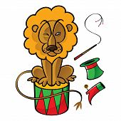 Circus lion trainer drum tophat whip boot eat poster