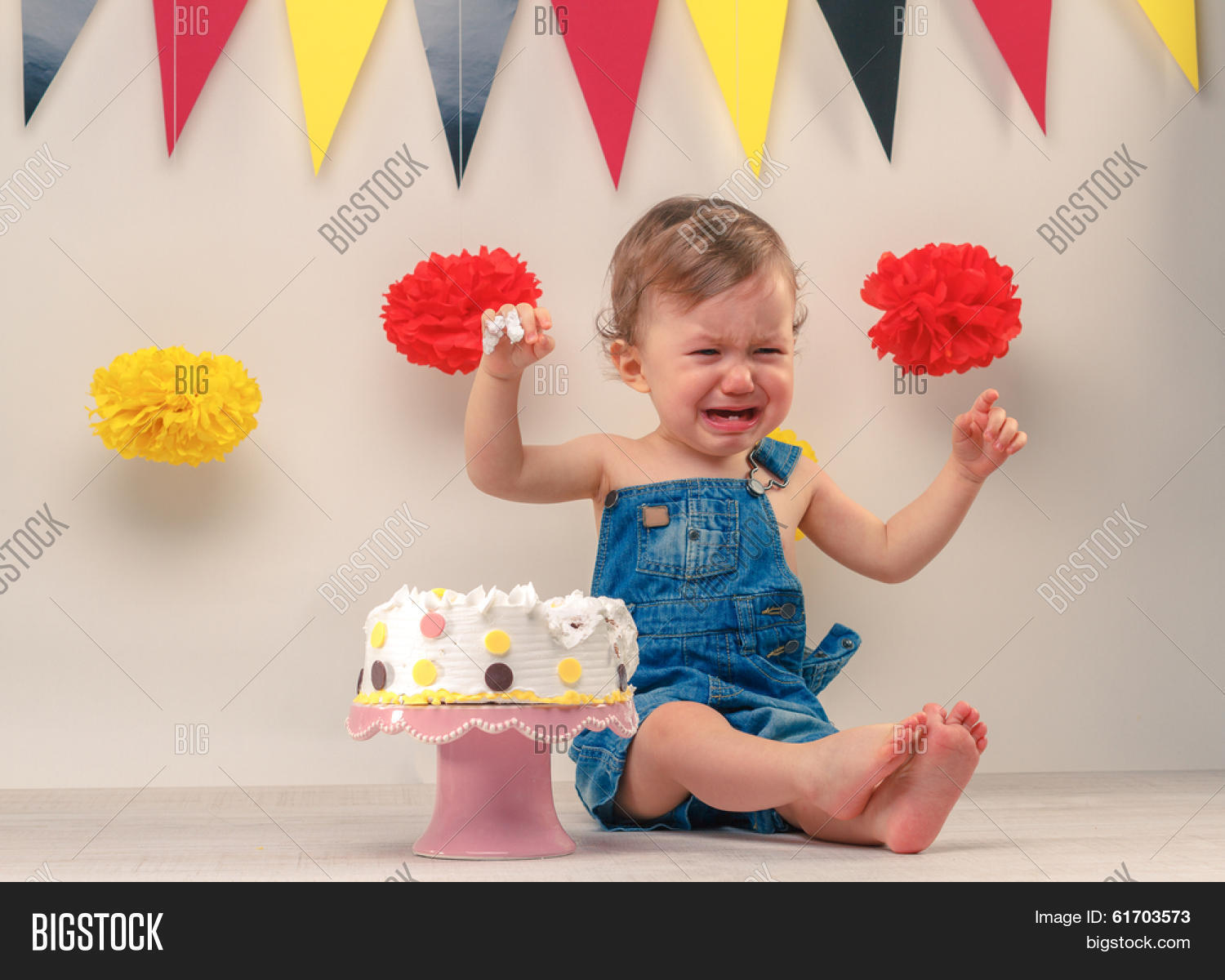 Baby Boy Crying While Eating His Birthday Party Cake Smash The