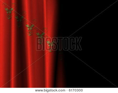 Curtain of red velvet