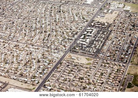 aerial view of suburban sprawl in Phoenix, Arizona