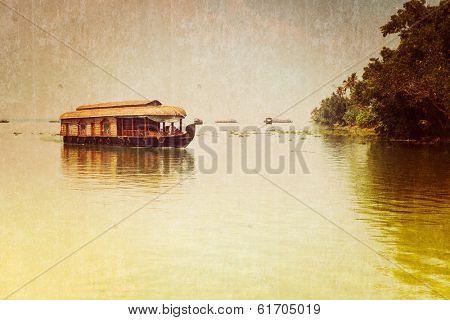 Traditional Inian house boat .Kerala