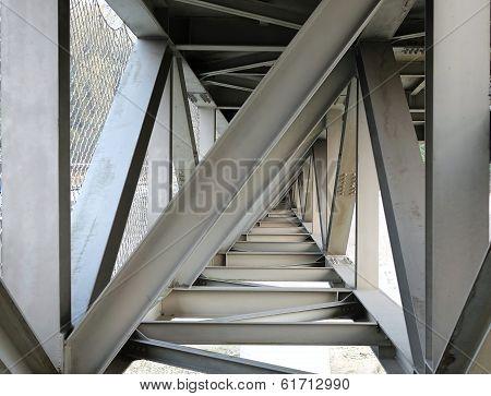 Steel Girder Bridge Seen From Below