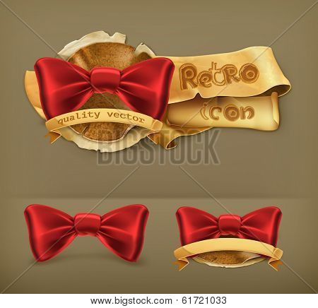 Bow tie, retro vector icon poster