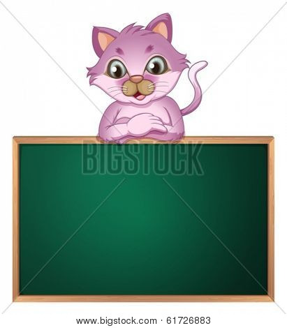 Illustration of an empty greenboard with a cute cat on a white background