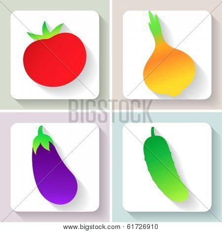 Flat design vegetable icons. Set of fruit. Vector illustration.