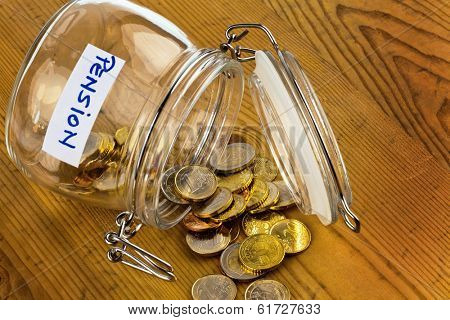 gold coins in a jam jar. the provision for old age is always less. poverty in retirement / pension?