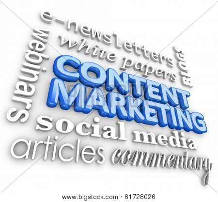 Content Marketing 3d Word Collage Customer Outreach Communication