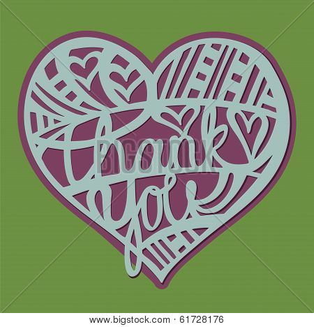 Thank you Heart - hand drawn lettering