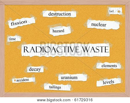 Radioactive Waste Corkboard Word Concept
