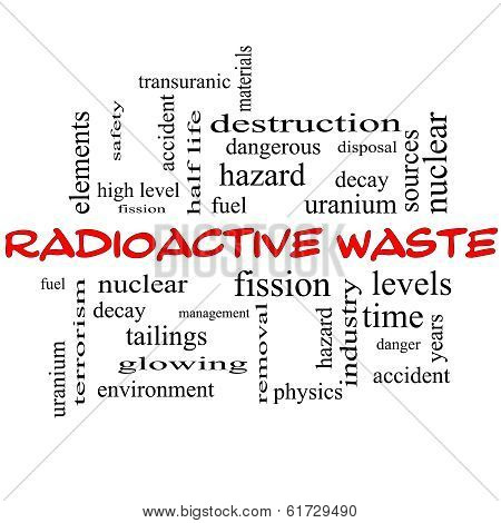 Radioactive Waste Word Cloud Concept In Red Caps
