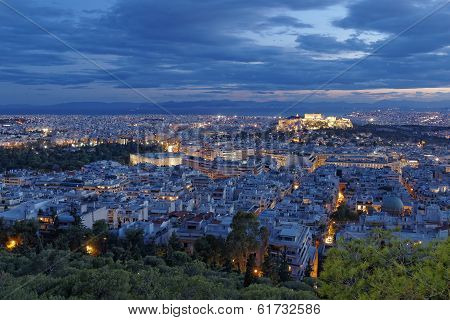 Acropolis and Athens cityscape in the twilight