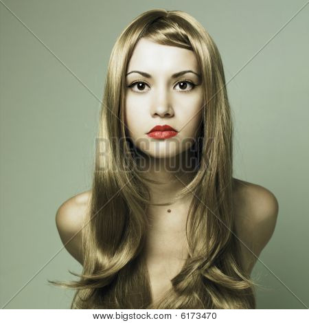 Beautiful Woman With Magnificent Blond Hair