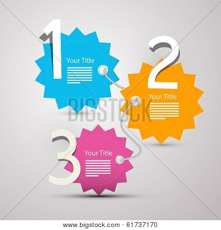 One, two, three, - vector progress steps for tutorial - infographics