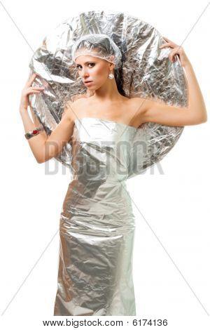 Futuristic Robot Woman With Metallic Disk