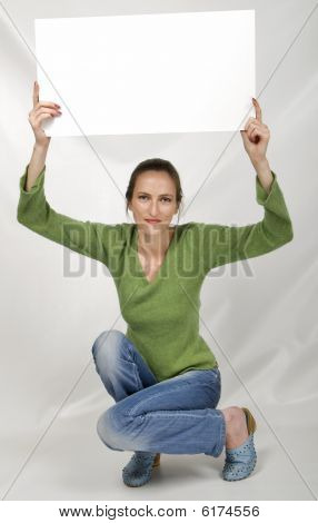 Promotion - beautiful girl whit sign, one person poster