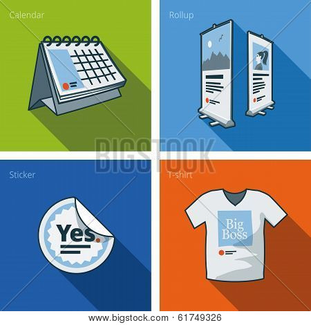 Printouts Icon Set Of Calendar, Rollup Banner, Sticker And T-shirt