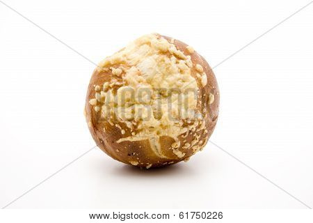 Fresh Baked Cheese Bread Roll on white background