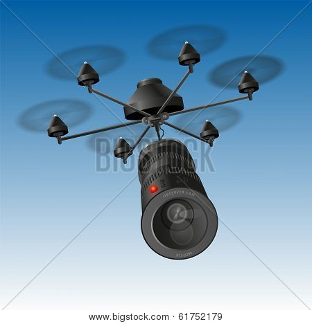Drone or unmanned aerial vehicle (UAV) with an observing camera. poster