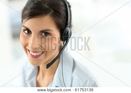 Portrait of beautiful customer service representative