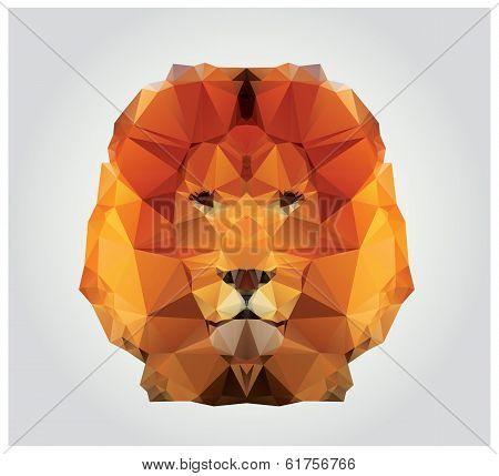 Geometric polygon lion head, triangle pattern, vector illustration