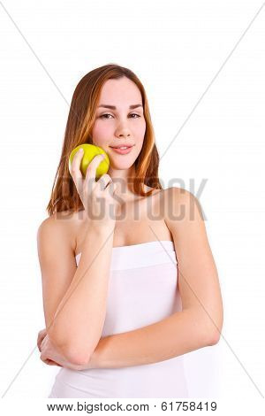 Attractive Woman With Apple