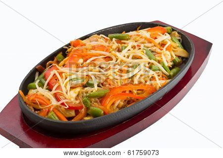 Thai Noodles With Vegetables Isolated On White Background