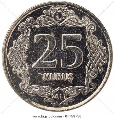 25 Turkish Kurus Coin, 2011, Back