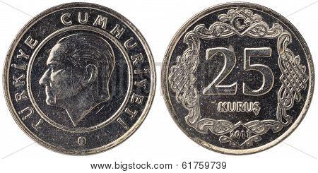 25 Turkish Kurus Coin, 2011, Both Sides