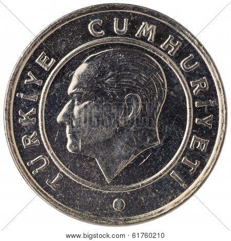 25 Turkish Kurus Coin, 2011, Face
