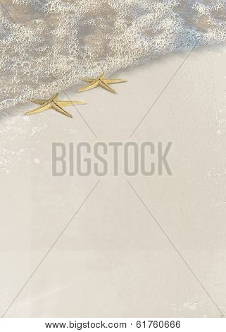 Pair of starfish in sea foam on the beach. poster
