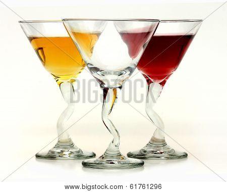 Three elegant crystal cocktail glasses