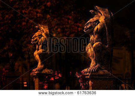 Two guardian gargoyles at haunted house
