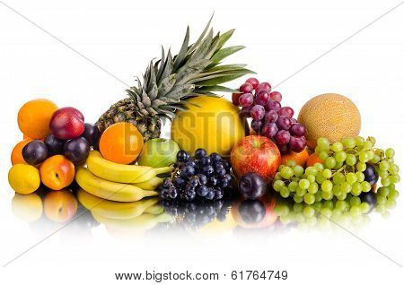 still life of big heap multi-coloured fruits on white background isolated poster